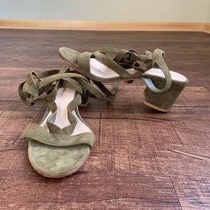 Gianvito Rossi olive green gladiator straps sandal